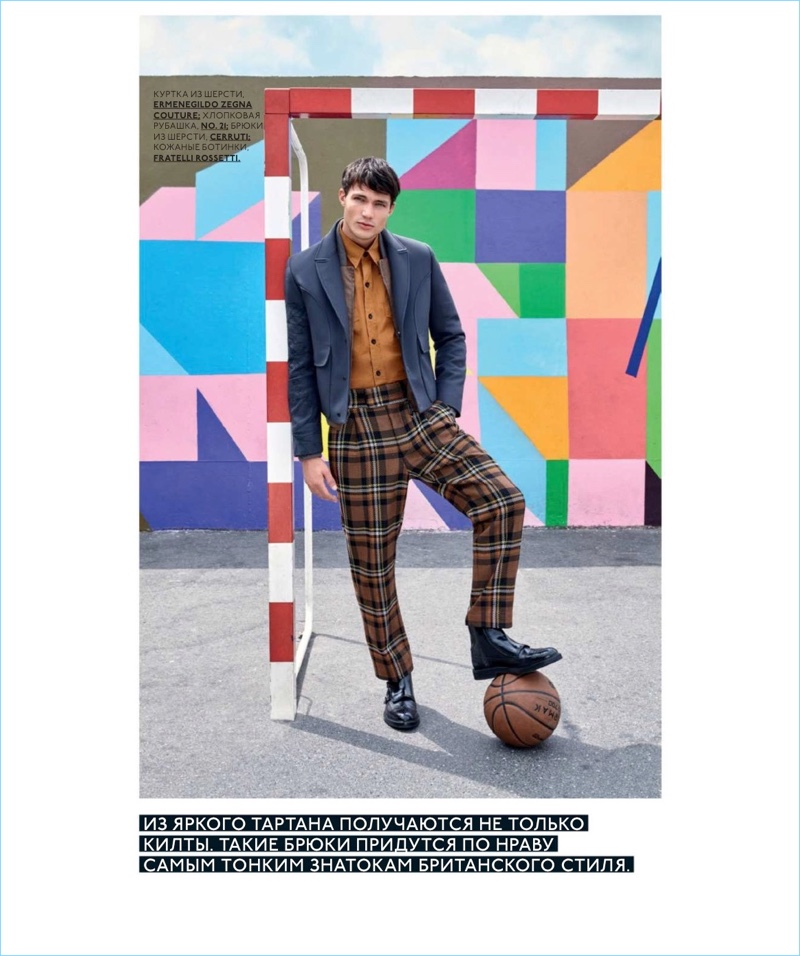 706b3d744f2 Dominic Carisch Makes a Statement in Checks for GQ Style Russia