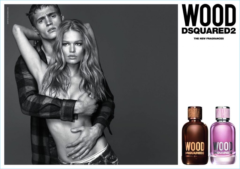 Models Julian Schneyder and Anna Ewers come together as the faces of Dsquared2's Wood fragrance campaign.