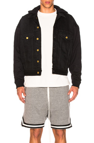 Fear of God Hooded Trucker Jacket with French Terry Sleeves in Black