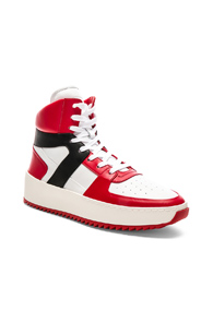Fear of God Leather Basketball Sneakers in Red