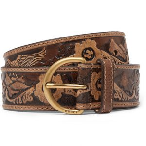 Gucci - Brown Embossed Leather Belt - Tan