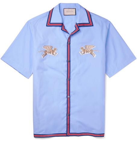 47b3ad0c Gucci – Camp-Collar Embroidered Cotton Shirt – Men – Light blue ...
