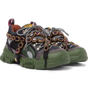 Gucci - Flashtrek Embellished Suede, Leather and Mesh Sneakers - Green