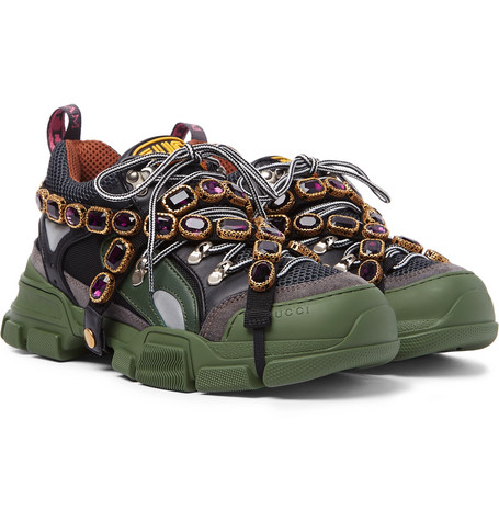 1ec460947 Gucci – Flashtrek Embellished Suede, Leather and Mesh Sneakers – Green