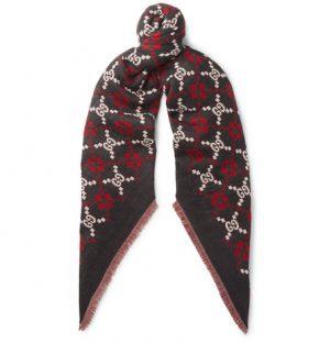Gucci - Fringed Logo-Jacquard Wool Scarf - Black