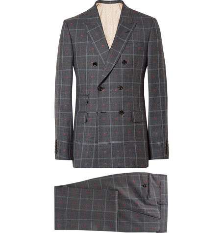 Gucci - Grey Slim-Fit Embroidered Prince of Wales Checked Wool and Cotton-Blend Suit - Gray