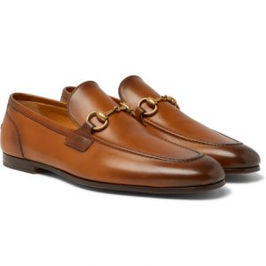 Gucci - Jordaan Horsebit Burnished-Leather Loafers - Brown