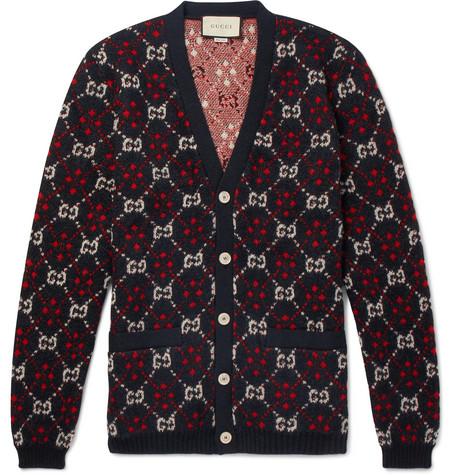 Gucci - Logo-Jacquard Alpaca and Wool-Blend Cardigan - Black