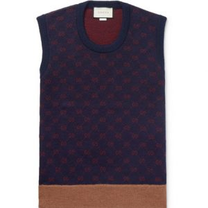 Gucci - Logo-Jacquard Wool and Alpaca-Blend Sweater Vest - Navy
