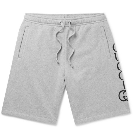 classic fit free delivery shop for authentic Gucci - Logo-Print Loopback Cotton-Jersey Shorts - Gray