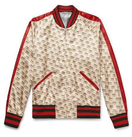 ec93fbcf1 Gucci – Logo-Print Satin Bomber Jacket – Men – Cream | The Fashionisto