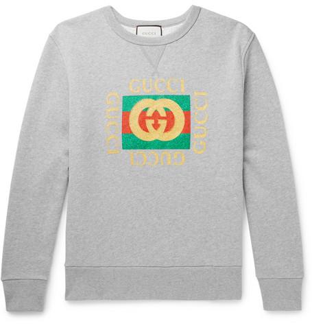 Gucci - Oversized Printed Mélange Loopback Cotton-Jersey Sweatshirt - Gray