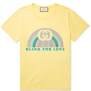 Gucci - Printed Cotton-Jersey T-shirt - Yellow