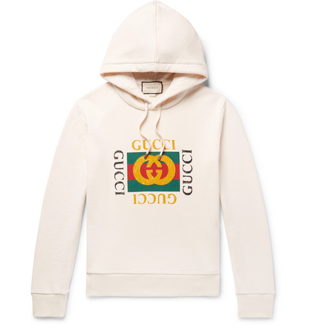 latest discount huge selection of get online Gucci – Printed Loopback Cotton-Jersey Hoodie – Men – Cream   The ...