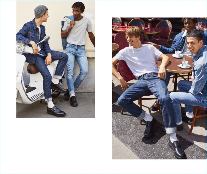 Left to Right: Ali Latif wears H&M denim jacket, skinny jeans, and leather monkstrap shoes. Adonis Bosso wears a H&M tee, denim jacket, slim jeans, and leather sneakers. All smiles, Ben Allen rocks a H&M tee and slim jean with leather monkstrap shoes.