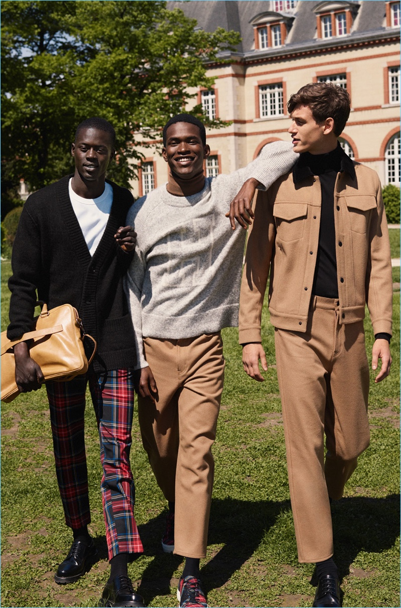 Alpha Dia, Salomon Diaz, and Jegor Venned wear looks from H&M Studio's fall-winter 2018 men's collection.