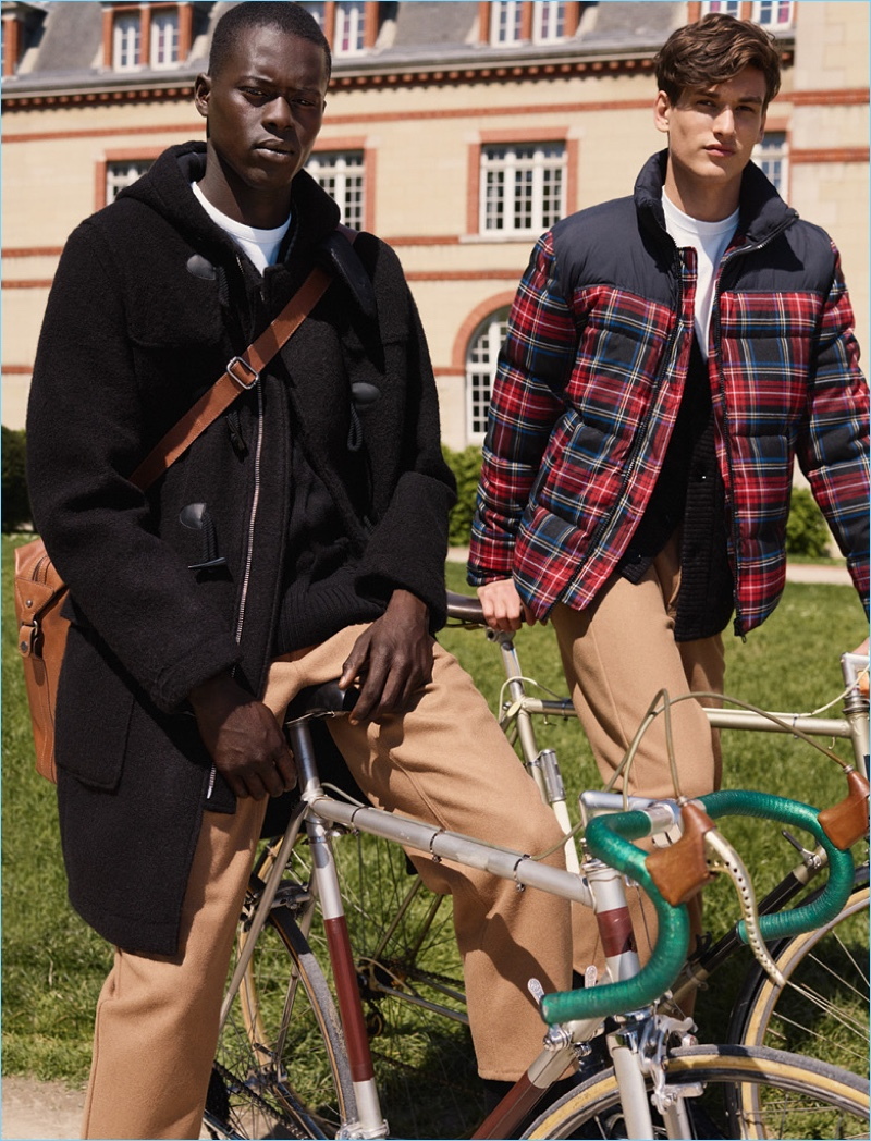 Models Alpha Dia and Jegor Venned deliver campus-ready style from H&M Studio.