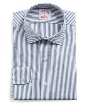 Hamilton Navy and White Stripe Poplin Shirt