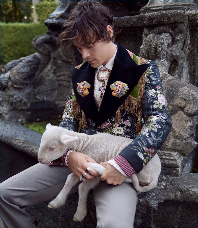 Glen Luchford photographs Harry Styles for Gucci's cruise 2019 tailoring campaign.