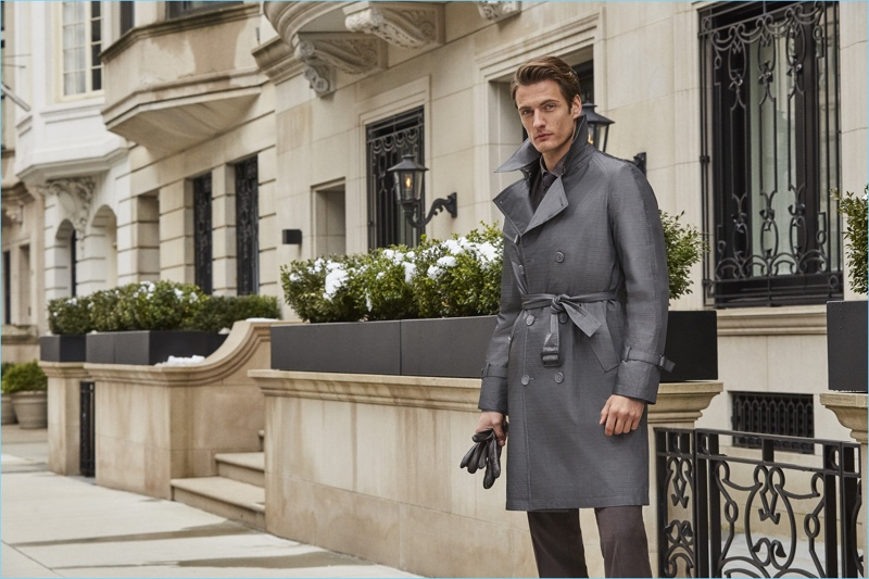 Donning a trench, Leo Eller stars in Hatemoğlu's fall-winter 2018 campaign.