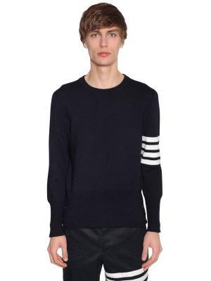 Intarsia Stripes Wool Milan Knit Sweater