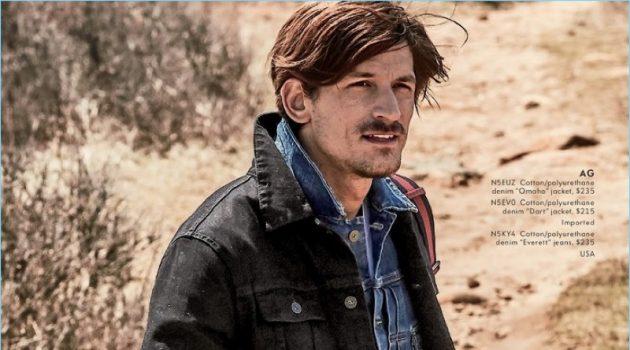 "Going casual, Jarrod Scott wears AG denim jackets with the brand's ""Everett"" jeans."