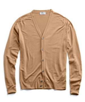John Smedley Easy Fit Merino Cardigan in Camel