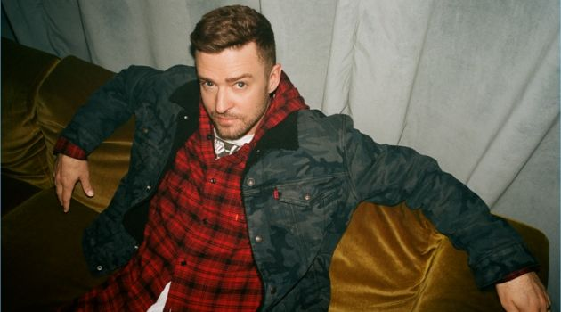 Justin Timberlake sports a camouflage jacket and hooded shirt from his Levi's collaboration.