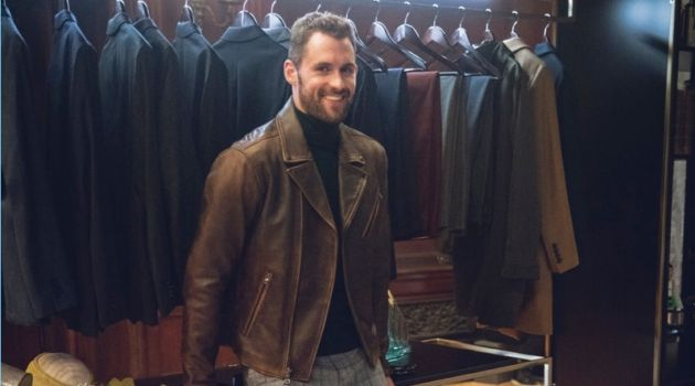 A chic but trendy vision, Kevin Love sports a brown leather biker jacket with a turtleneck sweater and windowpane print pants from his Banana Republic collaboration.