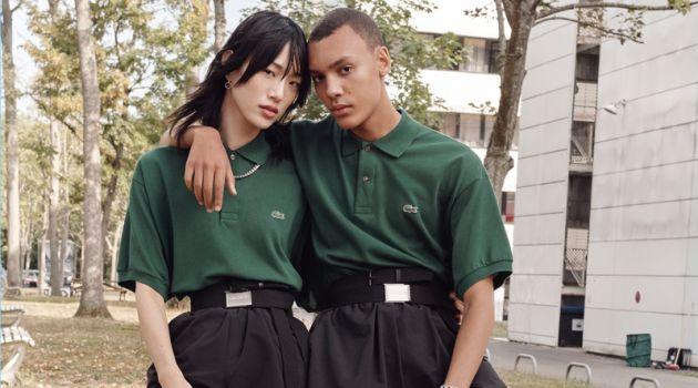 Sora Choi and Simon Bornhall wear unisex looks from Lacoste's spring-summer 2019 collection.