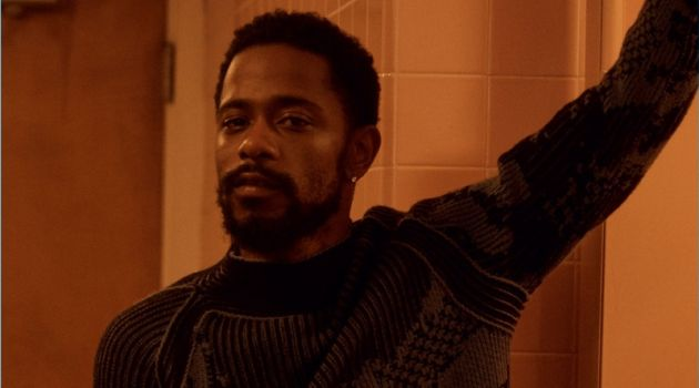 Actor Lakeith Stanfield dons a graphic sweater from Ermenegildo Zegna Couture.