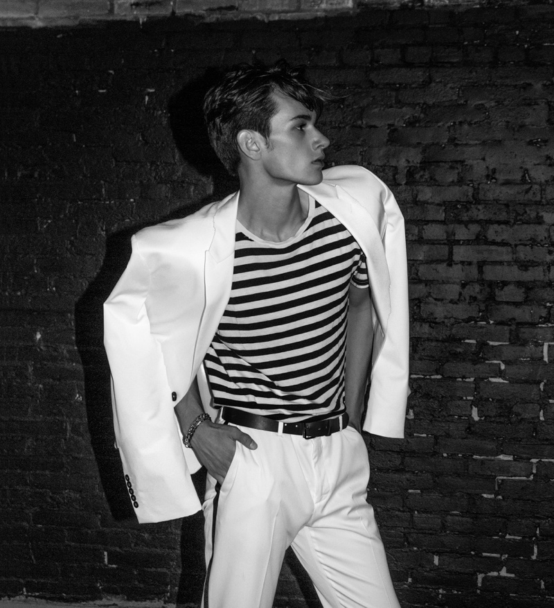 Levi wears striped tee and white suit Zara.