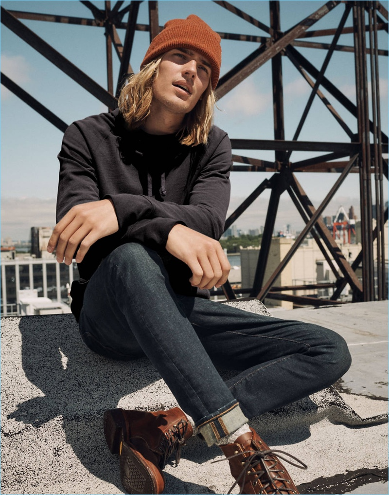 Ton Heukels wears Madewell slim-fit jeans with a hoodie.