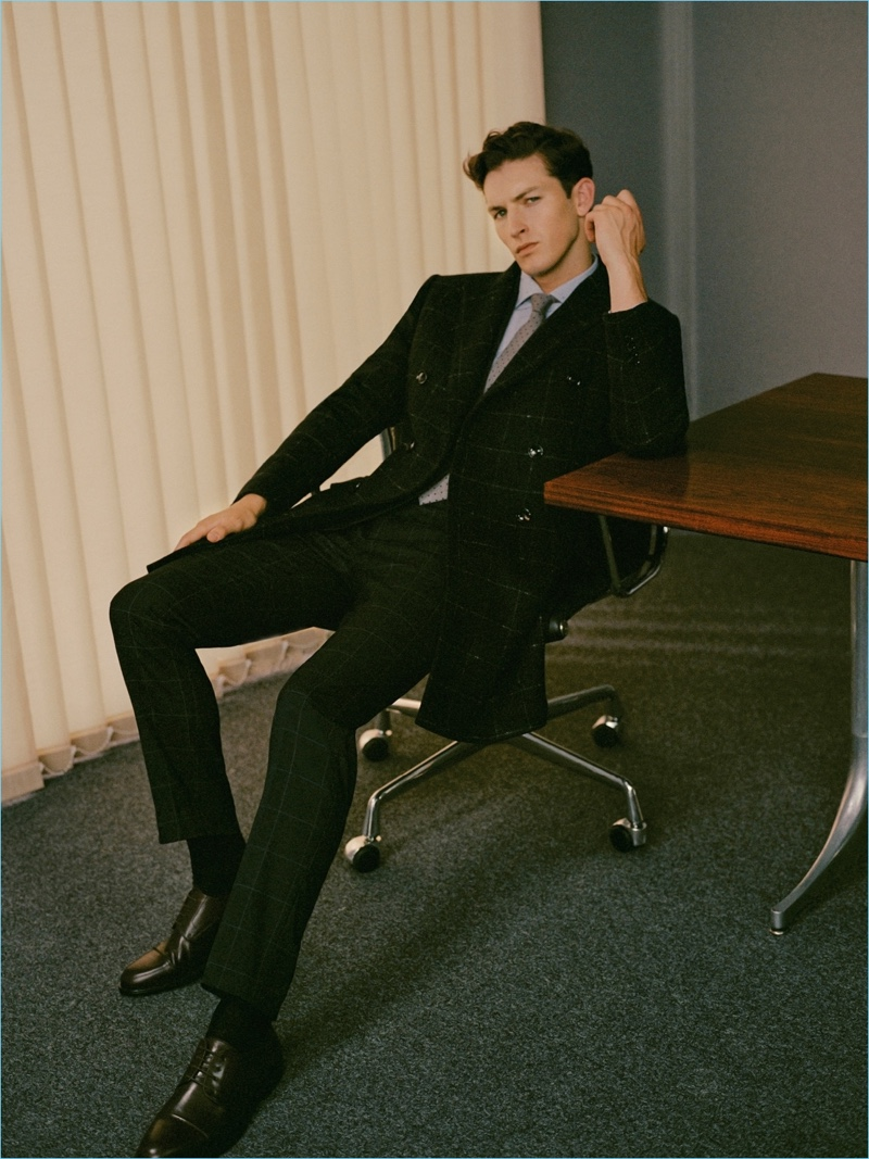 Oli Lacey is a sharp vision in a windowpane suit number from Mango Man.