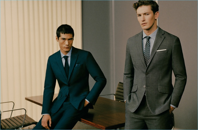 Boardroom ready, Hao Yun Xiang and Oli Lacey don dapper suits from Mango Man.