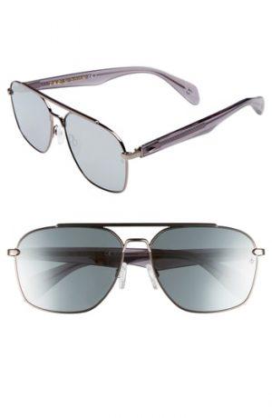 Men's Rag & Bone 60Mm Mirrored Navigator Sunglasses - Matte Ruthenium/ Grey