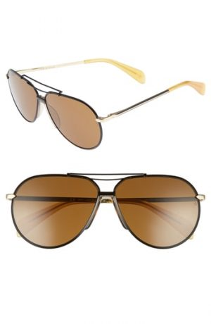 Men's Rag & Bone 61Mm Aviator Sunglasses - Black Gold