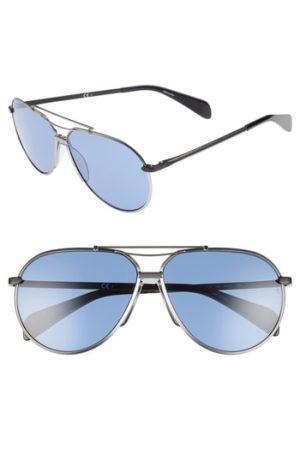 Men's Rag & Bone 61Mm Aviator Sunglasses - Silver/ Matte Black