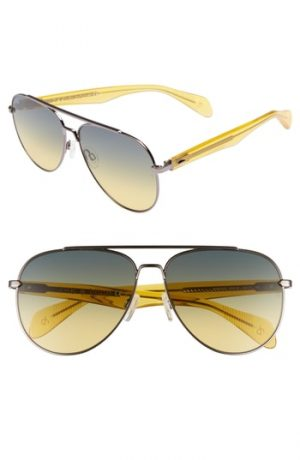 Men's Rag & Bone 62Mm Oversize Aviator Sunglasses - Ruthenium/ Yellow
