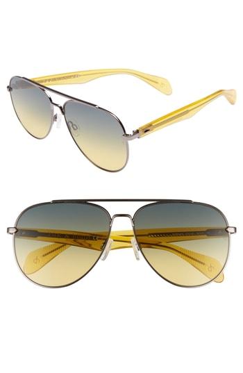 e23bbda5d8c0 Men's Rag & Bone 62Mm Oversize Aviator Sunglasses – Ruthenium/ Yellow | The  Fashionisto