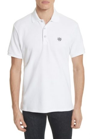 Men's Rag & Bone Embroidered Dagger Pique Polo, Size Medium - White
