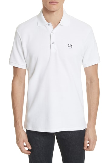 Men's Rag & Bone Embroidered Dagger Pique Polo, Size Medium - White