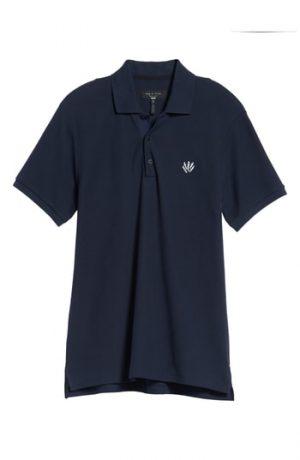 Men's Rag & Bone Embroidered Dagger Pique Polo, Size Small - Blue