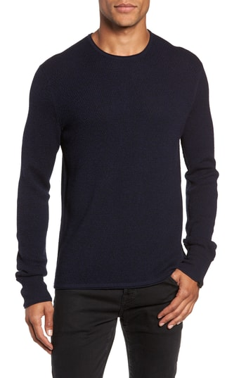 Men's Rag & Bone Gregory Wool Blend Crewneck Sweater, Size Small - Blue