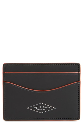 Men's Rag & Bone Hampshire Leather Card Case - Black