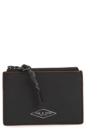 Men's Rag & Bone Leather Zip Card Case - Black