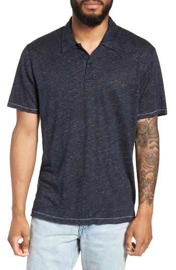 Men's Rag & Bone Owen Slim Fit Linen Polo Shirt, Size Small - Blue