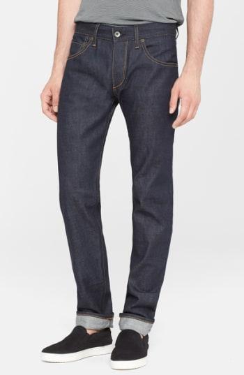 Men's Rag & Bone Standard Issue Fit 2 Slim Fit Raw Selvedge Jeans, Size 38 - Blue