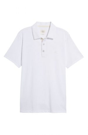 Men's Rag & Bone Standard Issue Regular Fit Slub Cotton Polo, Size Medium - White
