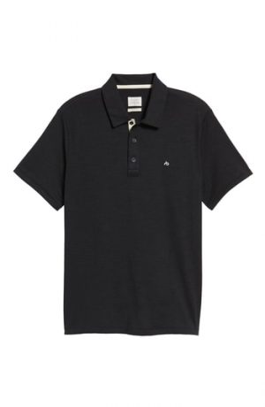 Men's Rag & Bone Standard Issue Regular Fit Slub Cotton Polo, Size Small - Black